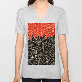 - fall : a red storm and the sea - Unisex V-Neck