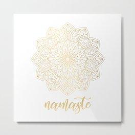 Namaste Gold Mandala Design Metal Print
