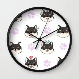 Chibi Shiba's black & tan Wall Clock