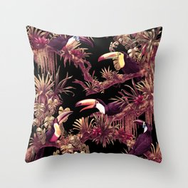 Toucans and Bromeliads - Dark Floral version Throw Pillow