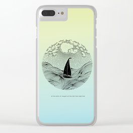 IN THE WAVES OF CHANGE WE FIND OUR TRUE DIRECTION (Blue) Clear iPhone Case