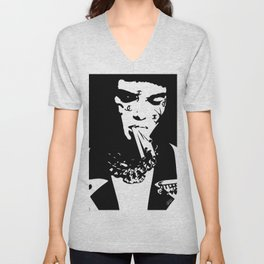 Ch@nel and Cigarettes - Black and White Fashion Illustration Design Unisex V-Neck