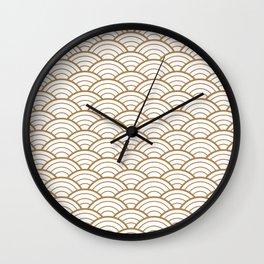 Gold white Art Deco shell pattern Wall Clock