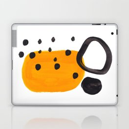 Mid Century Abstract Black & Yellow Fun Pattern Funky Playful Juvenile Shapes Polka Dots Laptop & iPad Skin