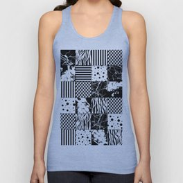 Eclectic Black and White Squares Unisex Tank Top