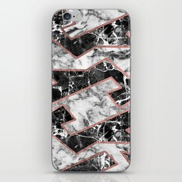 Geometrical modern faux rose gold black white marble iPhone Skin
