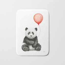 Panda and Red Balloon Baby Animals Watercolor Bath Mat