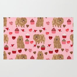 Pomeranian valentines day love hearts cupcakes pattern cute puppy dog breeds by pet friendly Rug