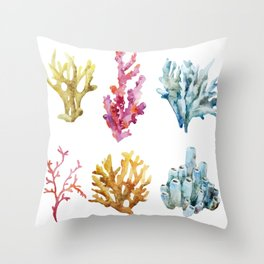 Colorful Chorals Throw Pillow