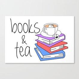 Books and Tea Bookworm Canvas Print