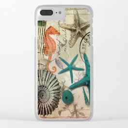 french botanical art seahorse teal green starfish Clear iPhone Case