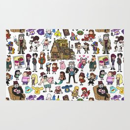 Cute Gravity Falls Doodle Rug