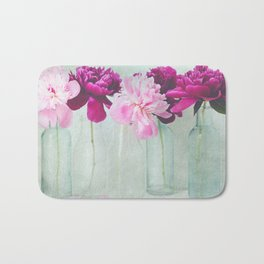 Bottles of Peonies All in a Row Bath Mat