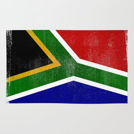 South African Distressed Halftone Denim Flag Rug