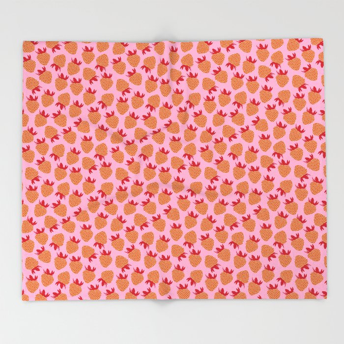 Strawberry Polka in Red Throw Blanket