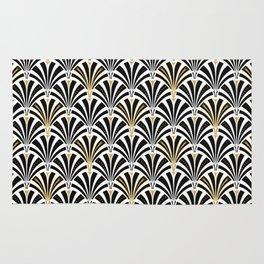Art Deco Fan Pattern, Black and White Rug
