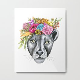 Lioness with Flower Crown Metal Print