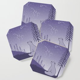 Bear and Constllations bule Coaster
