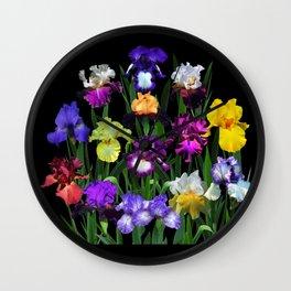 Iris Garden - on black Wall Clock