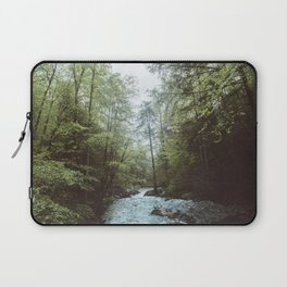 Peaceful Forest, Green Trees and Creek, Relaxing Water Sounds Laptop Sleeve