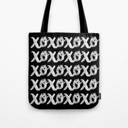 XOXOXO / White on Black Tote Bag