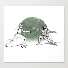 Spaceman Loves Fencing Canvas Print
