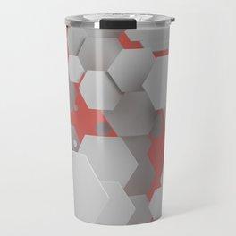 White hexagons on red Travel Mug