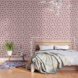 Modern heart pattern in pink and black Wallpaper