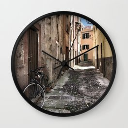 bicycle at the house door - ready to go Wall Clock