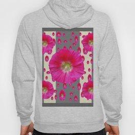 PINK-CERISE HOLLYHOCK FLOWERS  CREAM & GREY GARDEN Hoody