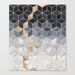 Soft Blue Gradient Cubes Canvas Print