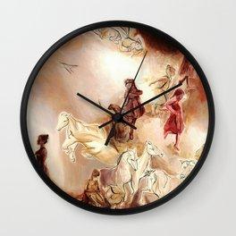 Imagined dream horses children dancing painting Wall Clock