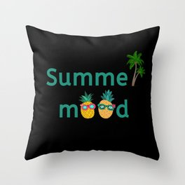 Summer Mood Pineapple Palm Trees Throw Pillow