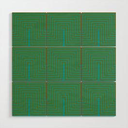 Doors & corners op art pattern in olive green and aqua blue Wood Wall Art