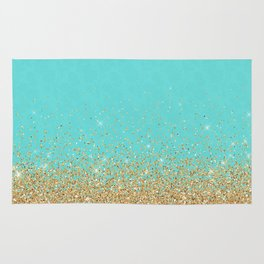 Sparkling gold glitter confetti on aqua teal damask background Rug