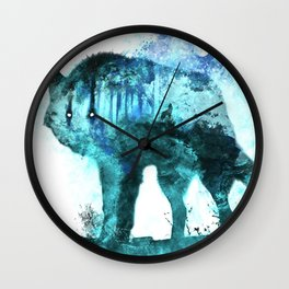 Double Exposure Wolf / Full Moon Wolves / Dark Forest Witch / Galaxy Space Wolf Wall Clock