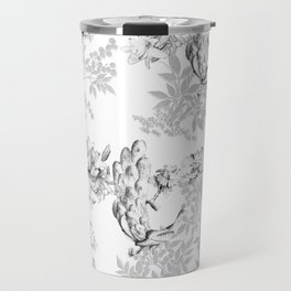 PEACOCK LILY TREE AND LEAF TOILE GRAY AND WHITE PATTERN Travel Mug