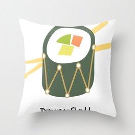 Sushi Drum Roll (white text) Throw Pillow