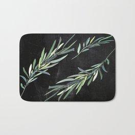Eucalyptus leaves on chalkboard Bath Mat