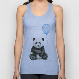 Panda Baby Animal with Blue Balloon Unisex Tank Top