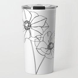 Botanical illustration line drawing - Anemones Travel Mug