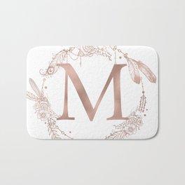 Letter M Rose Gold Pink Initial Monogram Bath Mat