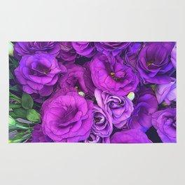 Purple Lisianthus Flowers Rug