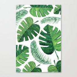 Monstera leaves and palm leaves Canvas Print