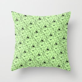 Cryptid Pattern: Black on Green Throw Pillow