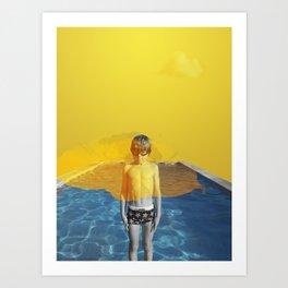 Blue Pool Orange Sky part two Art Print