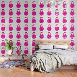 Russian doll matryoshka screw up one's eyes with bright rhombus on white background, pink colors Wallpaper