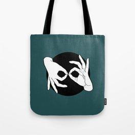 Sign Language (ASL) Interpreter – White on Black 07 Tote Bag