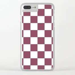 Purple, Mulberry: Checkered Pattern Clear iPhone Case