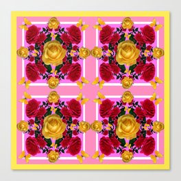 RED-YELLOW ROSES & YELLOW BUTTERFLIES ART Canvas Print